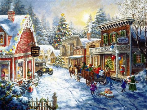 christmas village wallpaper wallpapersafari