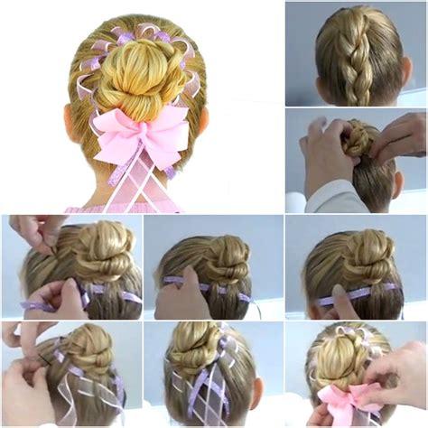 diy ribbon hairstyles how to diy fancy braided hair bun with woven ribbon fab