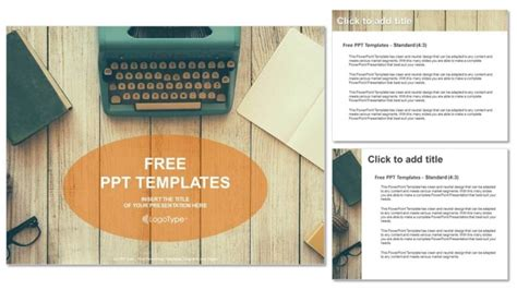 Vintage Typewriter On Wooden Table Powerpoint Templates Microsoft Powerpoint Templates Vintage