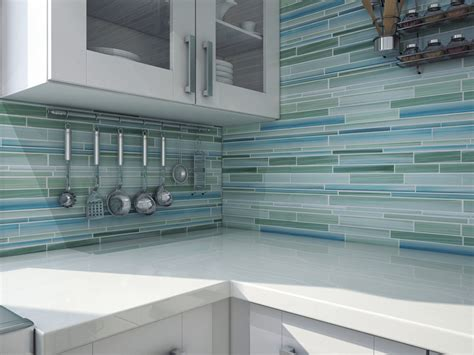 Kitchen Backsplash Tiles Peel And Stick Rip Curl Hand Painted Linear Glass Mosaic Tiles Rocky