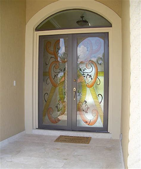 Impact Glass Doors Miami Door With Hurricane Impact Glass Artistry In Glass