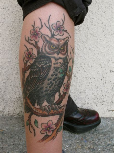 legs owl tattoo image 219991 on favim com attractive owl tattoo on right leg calf