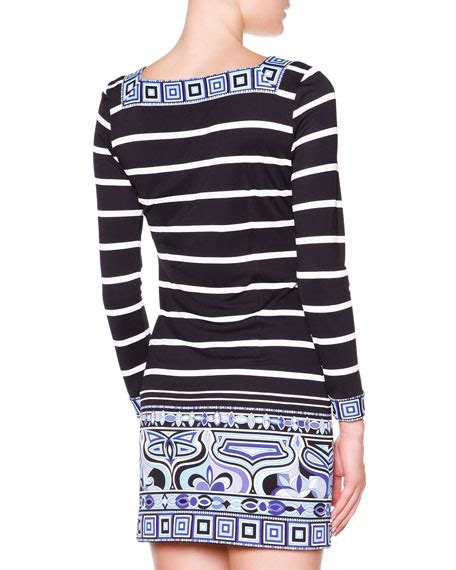 emilio pucci sleeve striped square border dress
