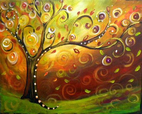 acrylic painting ideas fall original modern fall swirly tree whimsical acrylic