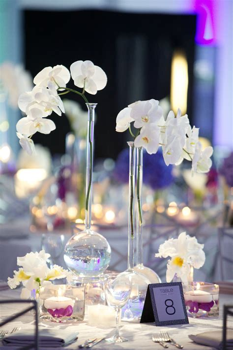 modern purple blue white wedding at contemporary
