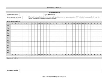 Treatment Sheet Template by Printable Treatment Schedule
