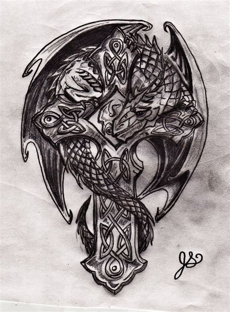 cross with dragon tattoo celtic cross and by jeremiahjoseph on deviantart