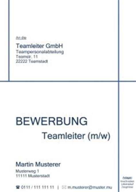 Deckblatt Bewerbung Teamleiter Deckblatt Bewerbung Ohne Foto Muster Zum Kostenlosen