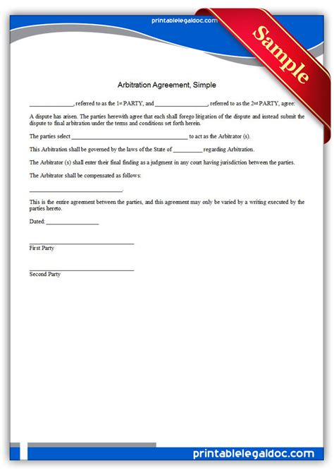 arbitration template free printable arbitration agreement simple form generic