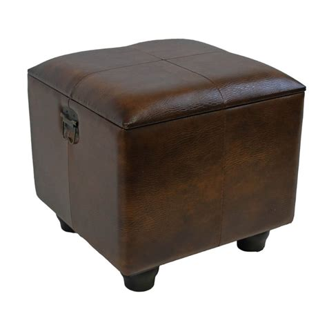 Faux Leather Ottoman Trunk In Brown Ywlf 2188 Br