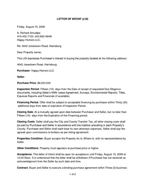 Letter Of Intent To Purchase House best photos of letter of intent property letter of
