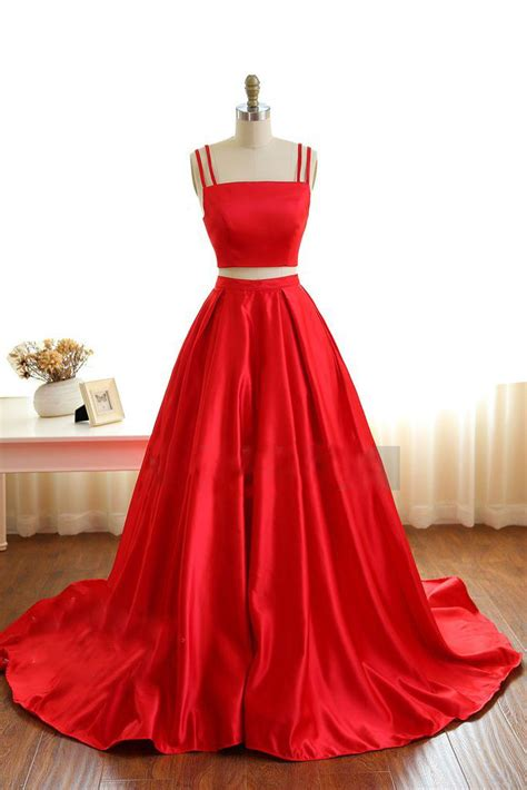 pieces prom dress ball gown simple red satin long