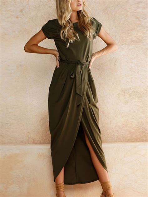 Dress Army Maxi army green tie waist sleeve maxi wrap dress choies
