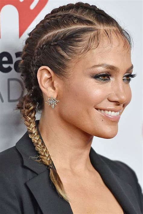 jlo braid inn middle of hair 15 boxer braids celebrities it girls are wearing
