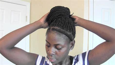 how to make a high bun with kinky twist high bun side bun on kinky twist hair youtube