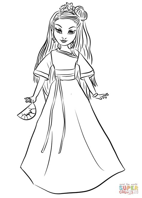 coloring pages of evie from descendants disney descendants auradon coronation lonnie coloring page
