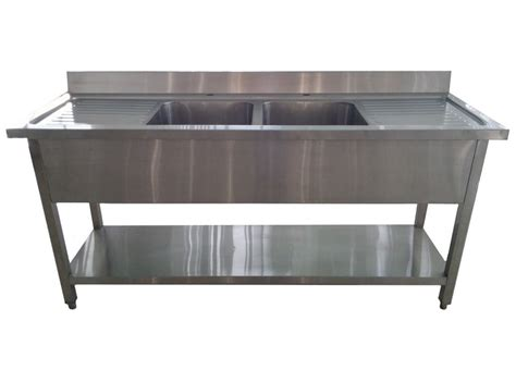 Single Sink Table Grease Trap Stainless Steel 1 8m commercial stainless steel bowl drainer sink 600mm