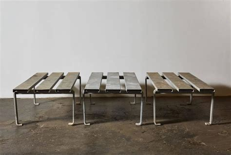 steel benches for sale three slatted galvanized steel benches for sale at 1stdibs
