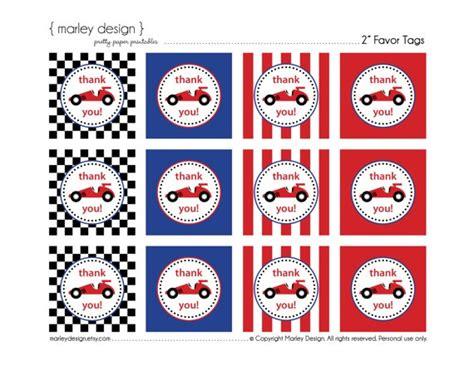 printable race car name tags race car party birthday favor thank you tags 2 inch