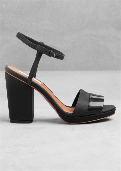 black block sandals other stories block heel sandals in black lyst