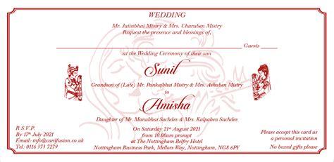 hindu wedding wordings  dl size  indian wedding cards