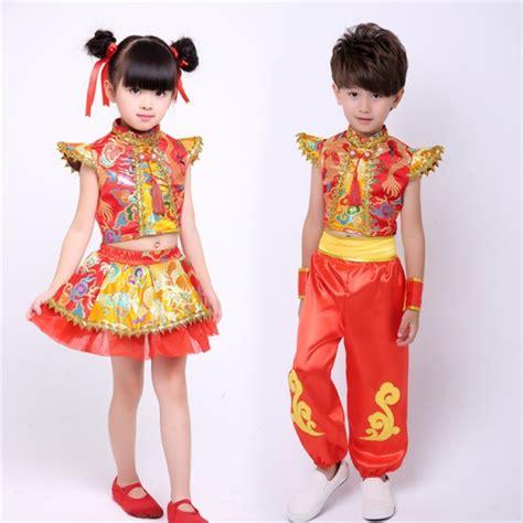 Kung Souvenir Dress Mano Yellow Orange gold pattern folk s boys children performance drummer opening
