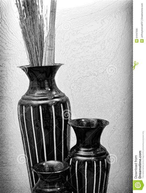 Black And White Vase Decoration Contemporary Vase Decor In Black And White Stock Photo