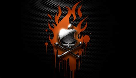 apple skull bones darkness wallpaper flames blood