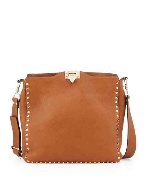 10 Valentino Bags by Lyst Valentino Rockstud Medium Flip Lock Hobo Bag In Brown