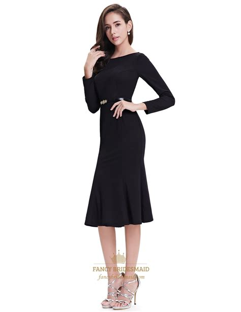 black mermaid sleeves tea length prom dresses with