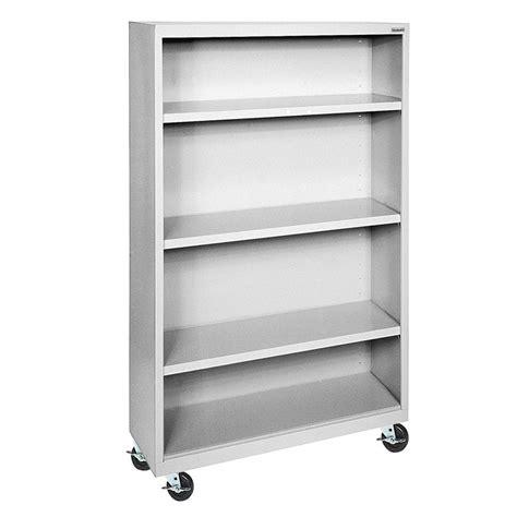 Sandusky Dove Grey Mobile Steel Bookcase Bm30361852 05 Movable Bookshelves