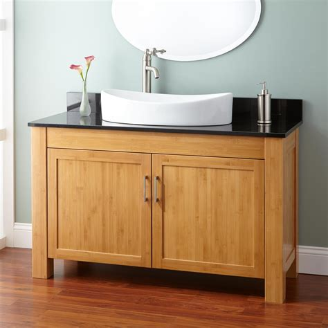 vanity for narrow bathroom 48 quot narrow depth bashe bamboo vessel sink vanity bathroom