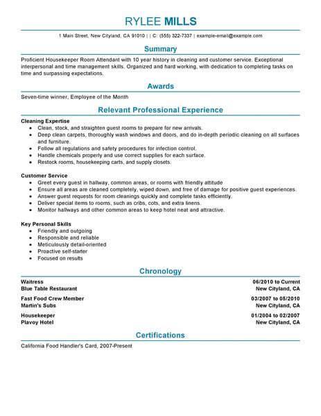 hotel housekeeping resume sle best housekeeper room attendant resume exle livecareer
