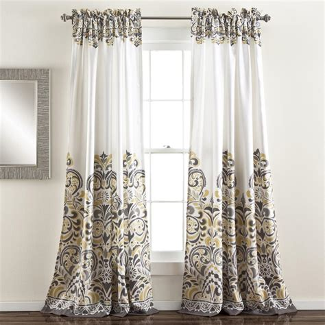 Yellow And White Curtains Grey Gray Yellow White Modern Global Paisley Curtains Set Of 2 Panels 84 Quot L Ebay