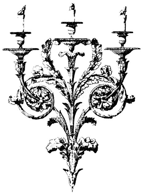 vintage clip art gothic baroque candle holders the