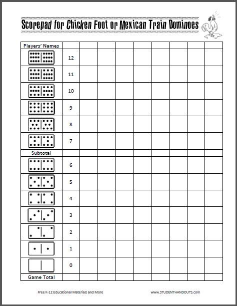 corn hiolescore card template scorepad for chicken foot or mexican dominoes free