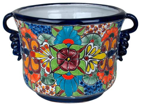 Ceramic Planter Pot by Talavera Ceramic Squash Flower Pot With Handles