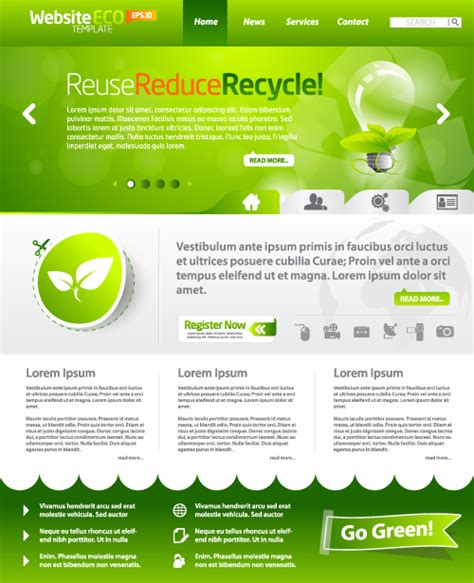 free website template design green eco website template design vector 05 vector web