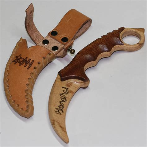 wooden knife sheath wooden knife karambit with leather sheath