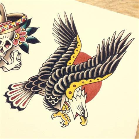 old school eagle tattoo furious school eagle on sun background