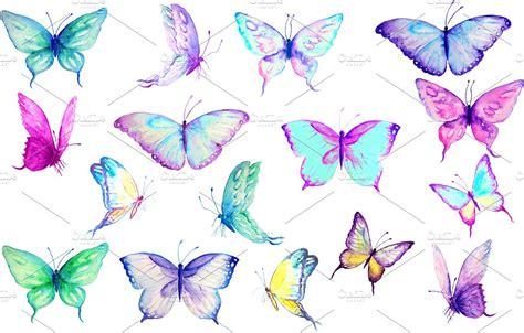 watercolor clip art blue butterflies illustrations