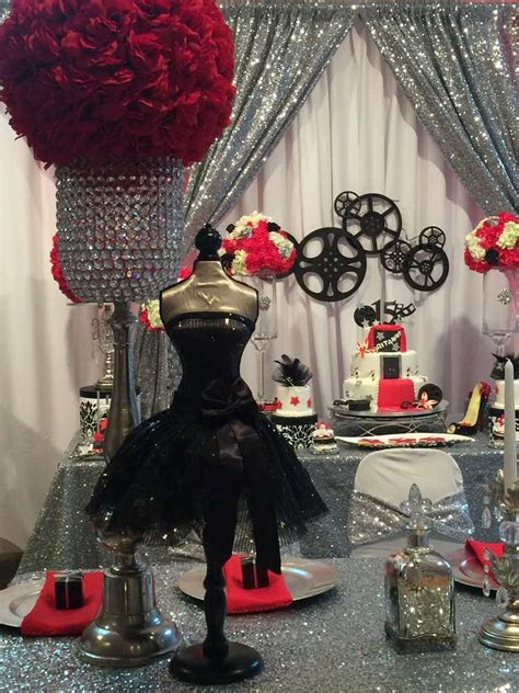 glam hollywood quinceanera birthday party   party