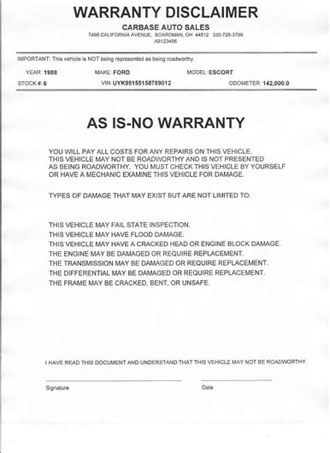 used car warranty release date price and specs