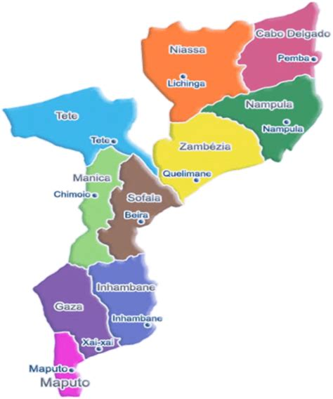 map of mozambique cities mozambique political map mozambique mappery
