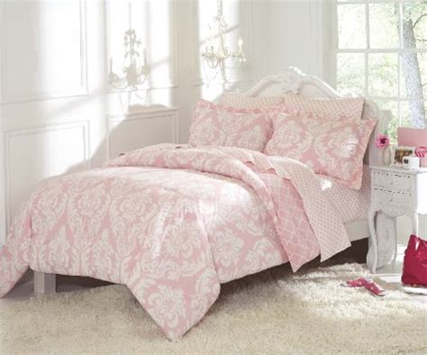 cheap petal pink overscale modern print damask bed in a