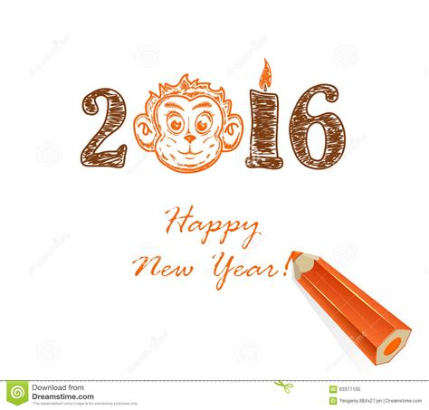 how to draw new year monkey drawing happy new year and monkey stock vector image