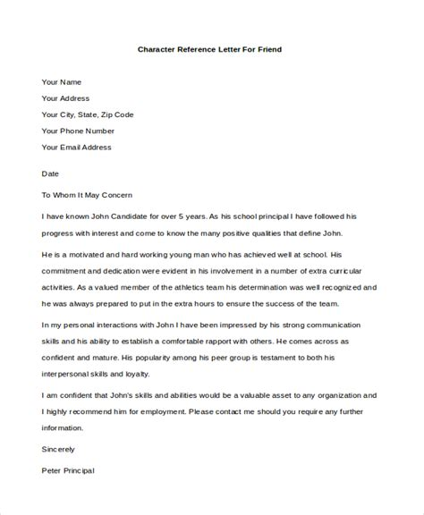 Character Reference Letter Closing Personal Reference Letter For Application
