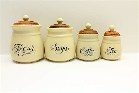 Vintage Ceramic Kitchen Canisters by Flour Sugar Coffee Tea Containers Jars Matching Container