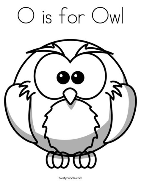O The Owl Coloring Page by O Is For Owl Coloring Page Twisty Noodle