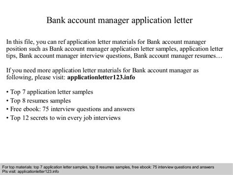 sle of application letter for bank manager bank account manager application letter